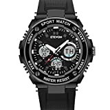Father's Day Gift ETEVON Men's 'Captain' Analog Digital Black Military Sport Watch Waterproof Dual Time EL Backlight, Fashion Outdoor Watches for Men