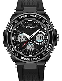 Father's Day Gift ETEVON Men's 'Captain' Analog Digital Black Military Sport Watch Waterproof Dual Time EL Backlight...