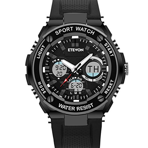 ETEVON Men's 'Captain' Stylish Outdoor Sport Watch, Real 30M Waterproof EL Backlight Military Time, Quartz Analog and Digital Watches for Men – Black