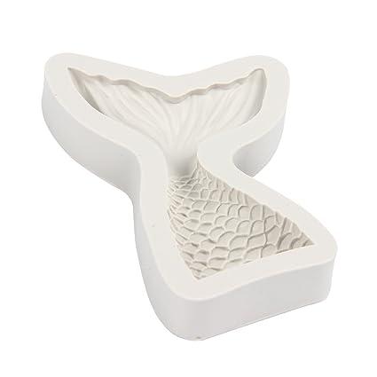 Molde de silicona de Evilandat con forma de cola de sirena para fondant, gelatina,