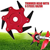 Lawn Mower Head Trimmer Head with 6 pcs 65Mn Steel Blades Razors Grass Cutter Head Accessory Tools