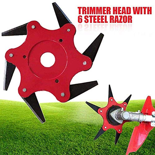 Trimmer Head Cutter, Manganese Steel Blades Razors Alloy Six-Cutter Hit 65Mn Lawn Mower Grass Weed Eater Brush Cutter Head for String Trimmer (Gardens Or Agricultural -