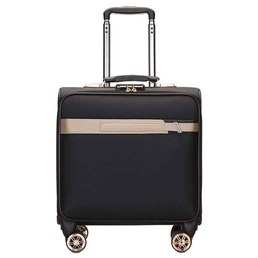 新しいファッションPUトロリーケース17インチのスーツケースビジネストラベルミュートキャスタートロリーケース (Color : Wise black)   B07R7SB3YY