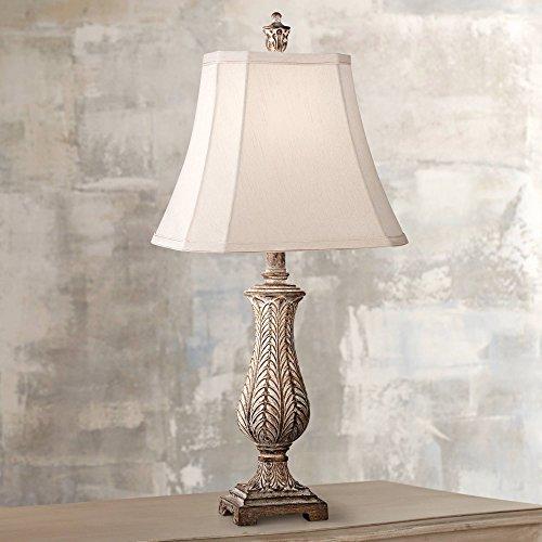 Country Cottage Table Lamp Antique Gold Leaves Petite Vase Off White Rectangular Shade for Living Room Family Bedroom - Regency Hill