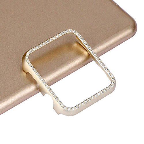 T.Face New Aluminum Bling Crystal Diamonds Case for Apple Watch 38mm 42mm Metal Alloy Frames Perfect Protection Casings (Gold)