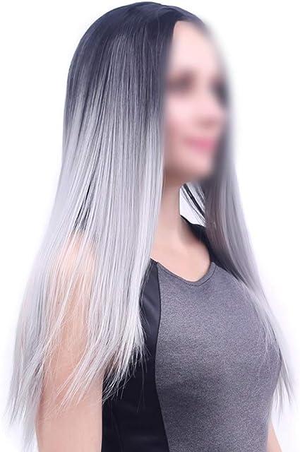 Pelucas de pelo de aspecto natural, peluca de ceniza de abuela negra, peluca sintética larga y recta para mujer, media: Amazon.es: Belleza