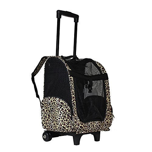 lcm portable small pet carrier backpack with wheels carry on mesh luggage leopard pattern. Black Bedroom Furniture Sets. Home Design Ideas