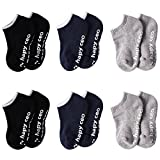 Boys Socks with Grippers, HAPYCEO 6 Pack Baby Toddler Soft Warm Non Slip Socks Cute Cotton Black&Navy Blue&Grey Medium Fit 2-4 Years Old Boy