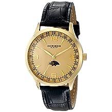 Akribos XXIV Men's AK637YG Retro Swiss Champagne Dial Gold-Tone Stainless Steel Black Leather Strap Watch