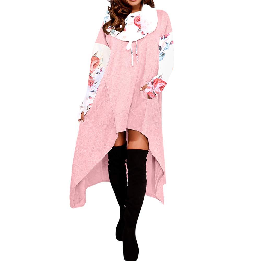 YANG-YI Clearance Women Loose Hoodie Long Hooded Tops Ladies Sweatshirt Asymmetric Blouse
