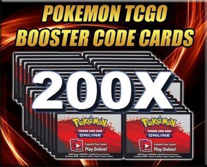 - 200 Booster Pack Code Pokemon Card Lot - Online Game PTCGO