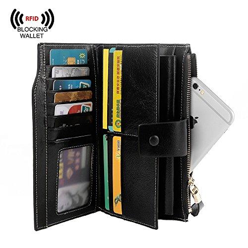 S ZONE Womens RFID Blocking Genuine Leather Clutch Wallet
