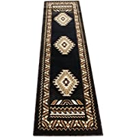South West Native American Runner Area Rug Design Kingdom 143 Black (2 Feet X 7 Feet)