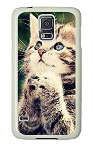 Samsung Galaxy S5 Baby Cat Looking Up PC Custom Samsung Galaxy S5 Case Cover White