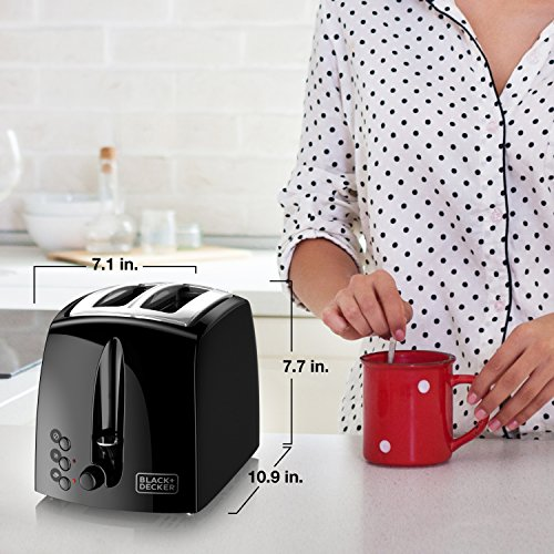 BLACK+DECKER TR1210BD 2-Slice Extra Wide Slot Toaster, Black/Stainless Steel