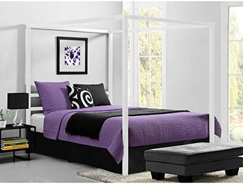 Calisto European-Style White Metal Canopy Bed Queen