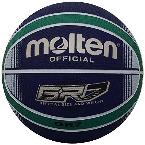 Molten Premium - Balón de Baloncesto (12 Paneles), Azul/Verde, Tamaño Oficial: 7