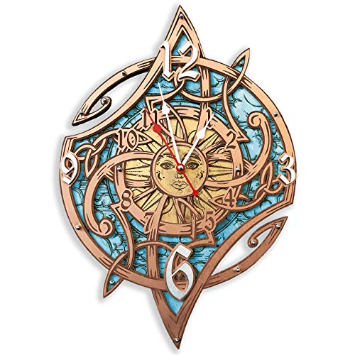 - Celtic magic sun HANDCRAFTED wooden wall clock, unique boho vintage style decor, housewarming, personalized, gift, Shabby chic wall decor, Anniversary Gift, gipsy, large