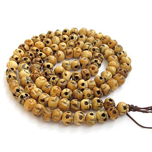 - OVALBUY Tibetan Buddhist 10mm Ox Bone Skull Beads Rosary Japa Mala Meditation Necklace