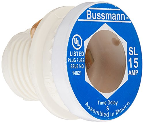 Bussmann BP/SL-15 15 Amp Time Delay Loaded Link Rejection Base Plug Fuse, 125V UL Listed Carded, 3-Pack from Bussmann
