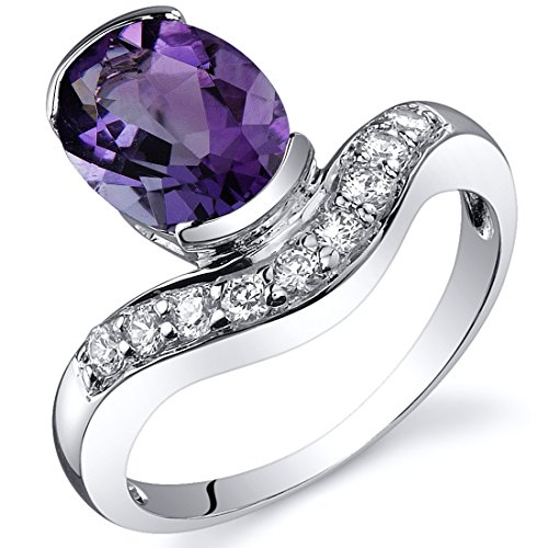- Channel Set 1.50 carats Amethyst Ring in Sterling Silver Rhodium Nickel Finish Size 9
