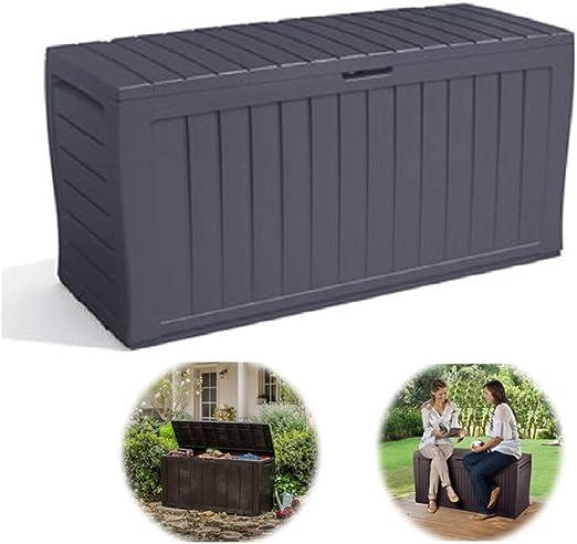 ZHOUAICHENG Caja de Almacenamiento de JardíN Al Aire Libre Caja de Almacenamiento de Muebles de PláStico Cofre BalcóN Patio Caja de Herramientas Impermeable de Gran Capacidad: Amazon.es: Hogar