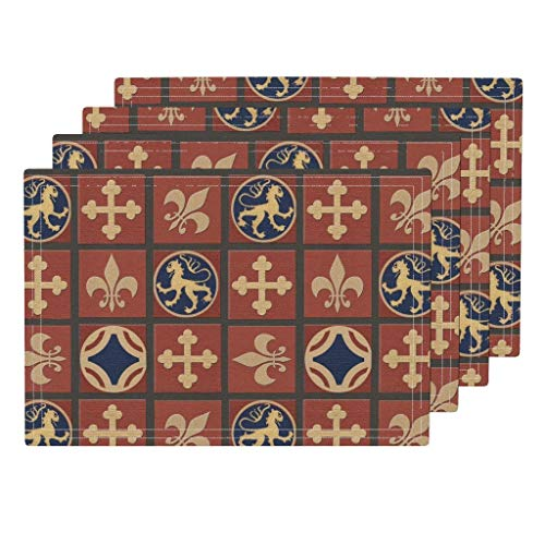 Roostery Medieval 4pc Linen Cotton Canvas Cloth Placemat Set - Tile Floor Cloth Historic Terra Cotta Fleur De Lis Heraldic by Poetryqn (Set of 4) 13 x 19in