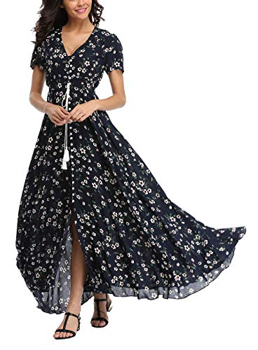 V fashion Women's Floral Maxi Dress Button Up Split Summer Boho Long Beach Dress (Flowy Spring Dresses For Women)