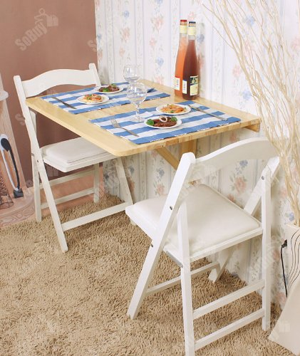 Haotian Wall-Mounted Drop-Leaf Table, Folding Dining Table Desk, Solid Wood Table, 75cm(29.5in) x60cm(23.6in), Color: Natural, FWT01-N Review
