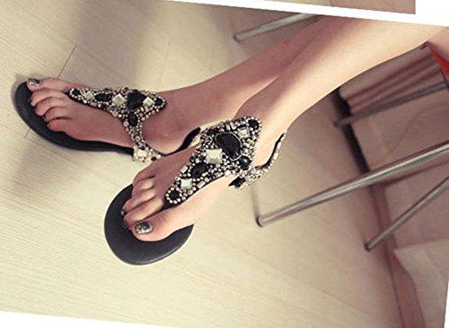 Aisun Womens Élégant Perlé Ouvert Split Toe Plage Tong Flip Sandales Chaussures Avec Strass Noir