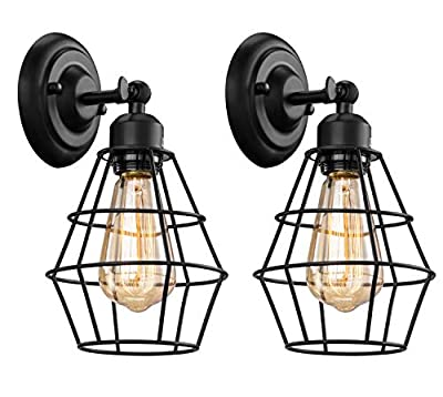 Elibbren Industrial Wall Sconce, 2 Pack, Vintage Wire Cage Wall Lighting Sconce, Farmhouse Wall Lighting Fixture for Bedroom, Headboard,Garage, Porch