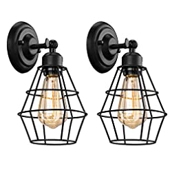 Farmhouse Wall Sconces Elibbren Industrial Wall Sconce, 2 Pack, Vintage Wire Cage Wall Lighting Sconce, Farmhouse Wall Lighting Fixture for… farmhouse wall sconces