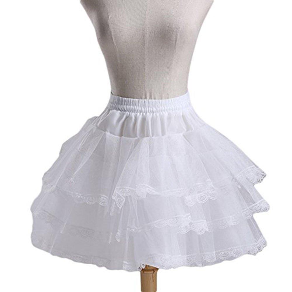 MLQM Flower Girl Petticoats 3 Layers Hoopless Lace Edge Tulle Underskirt Slips MLQM71-white
