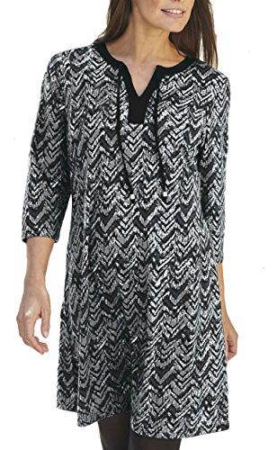 Langes Tunikaoberteil oder Kleid, für Damen, mit Stretch, in Grünblau, Weinrot oder Graum Größe 34-60 Grau / Schwarz