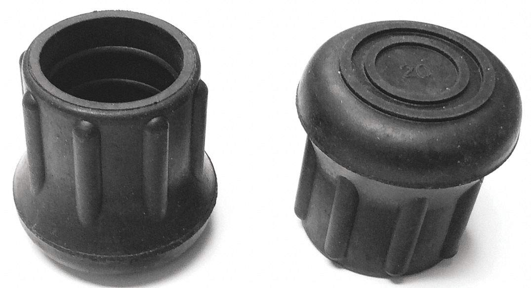 Round Slip-On Furniture Protective Leg Tips, Black Rubber, 1'' Leg Outside Dia, 10PK - pack of 5