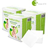 """Bellacotton Baby Large Dry Cotton Square Pads 3.5"""" x 4"""", White, 150 Count (3 Packs of 50)"""