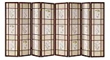 This panel room divider has adjustable panels made with a solid wood frame. This Shoji divider is suitable for dividing space for privacy in a living room or bedroom. The wood grid design is featured on one side of the divider only. Rich pine...