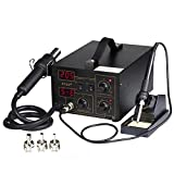Flexzion Digital Soldering Rework Station Hot Air Heat Gun 2 in 1 SMD Iron Solder Welder Desoldering System Kit Repair Tool ESD PLCC BGA with 3 Nozzles Dual LED Display 110V 852D+