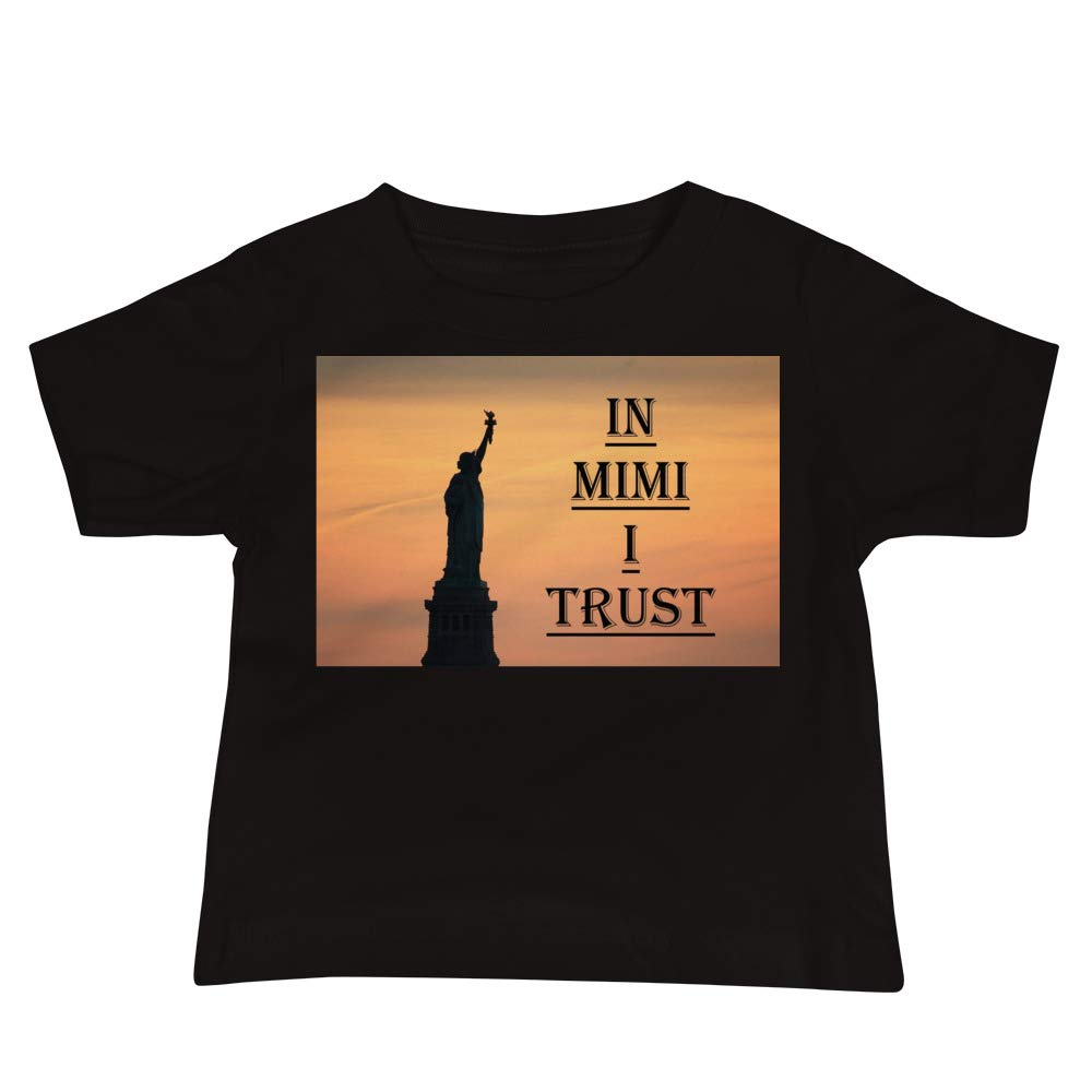 in Mimi I Trust Canvas 3001B Baby Jersey Short Sleeve Tee with Tear Away Label Black Bella