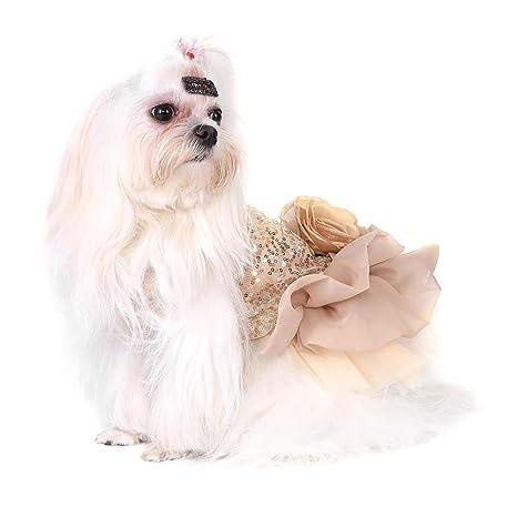 Garosa Vestido De Perro para Mascotas Ropa para Perros Pequeños Lentejuelas Tiquín Sedoso Disfraz De Perrito Princesa Elegante Falda Traje De ...