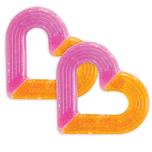 Munchkin 2 Piece Ice Heart Soothing Teether, Pink/Orange
