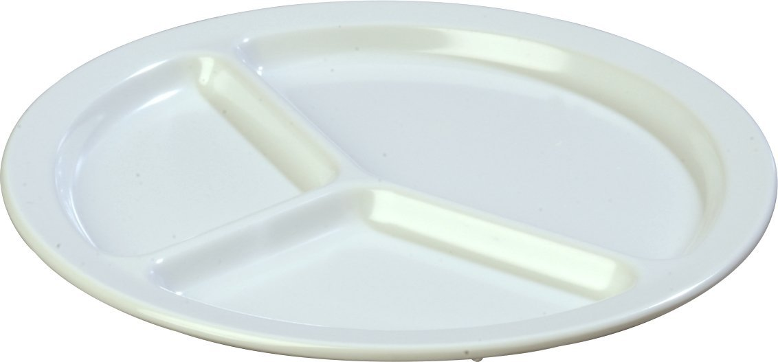 Carlisle KL10202 Kingline Melamine 3-Compartment Plate, 10.06'' Diameter x 0.74'' Height, White (Case of 48)