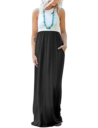 f0a4752f1c61be Blooming Jelly Womens Sleeveless Racerback Lace Loose Flowy Maxi Dresses  Casual Long Dress with Pockets(