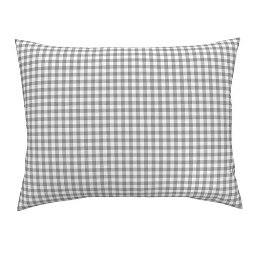 Gingham Standard Sham - Roostery Large Gingham Grey Gray White Graphic Check Euro Knife Edge Pillow Sham Gingham ~ Grey On Gray by Peacoquettedesigns 100% Cotton Sateen