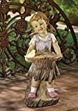 Children Garden Girl Solar Statue Outdoor Concrete Sculptures Decor Disney Angel Ornament Resin Lawn Yard Patio Ornament
