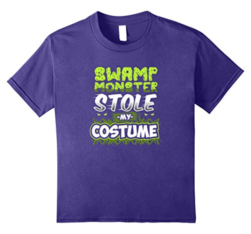 Kids Swamp Monster Stole My Halloween Costume Novelty T-Shirt 12 Purple (Swamp People Costume)