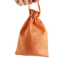POPETPOP 5pcs Dog Treat Pouch Linen Tote Bag with Drawstring Carry Snacks Pet Train Bag (Orange)