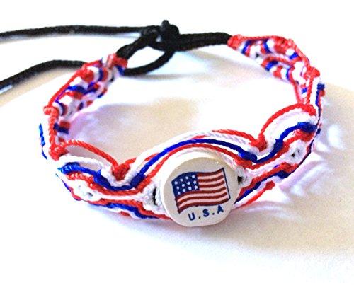 SA Country Flag Cotton Woven Wrist Ties/Wristbands / Friendship Bracelets/Bracelets (Red/White / Blue) ()