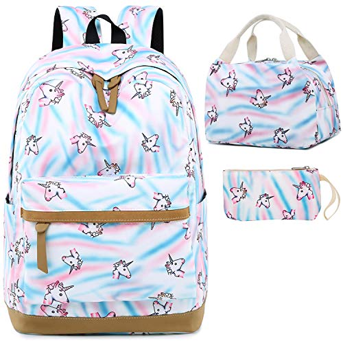 BLUBOON Backpack for School Girls Teens Bookbag Set Kids Laptop Backpack Lunch Box Purse White- Rainbow