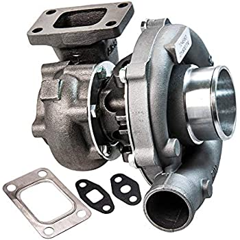 maXpeedingrods T04E T3/T4 Turbo Charger 0.5A/R 0.57A/R 44 Trim 5-Bolt 400+HP Boost Turbocharger 7psi-21psi, Oil Cooled Turbo with External Wastegate